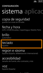 Ventana Windows Phone teclado: Teclado